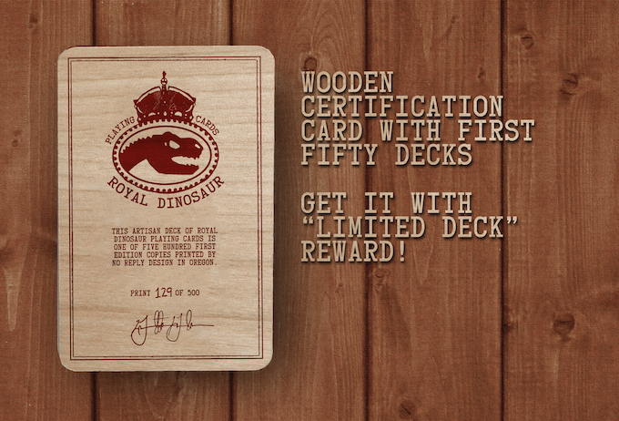 Wood certification card with the first fifty decks and upper tier rewards..