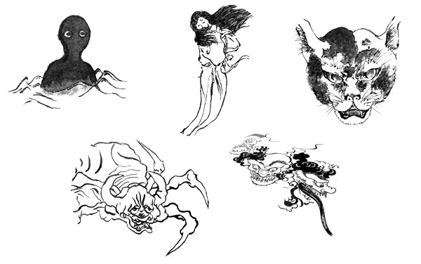 A few yōkai sketches. These are similar to what will be featured.