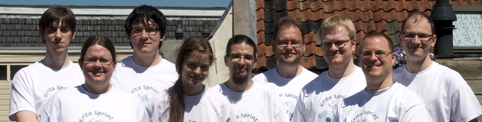 Meet the Krita team: Steven, Stuart, Lukas, Wolthera, Timothee, Boud, Sven, Leinir and Dmitry.