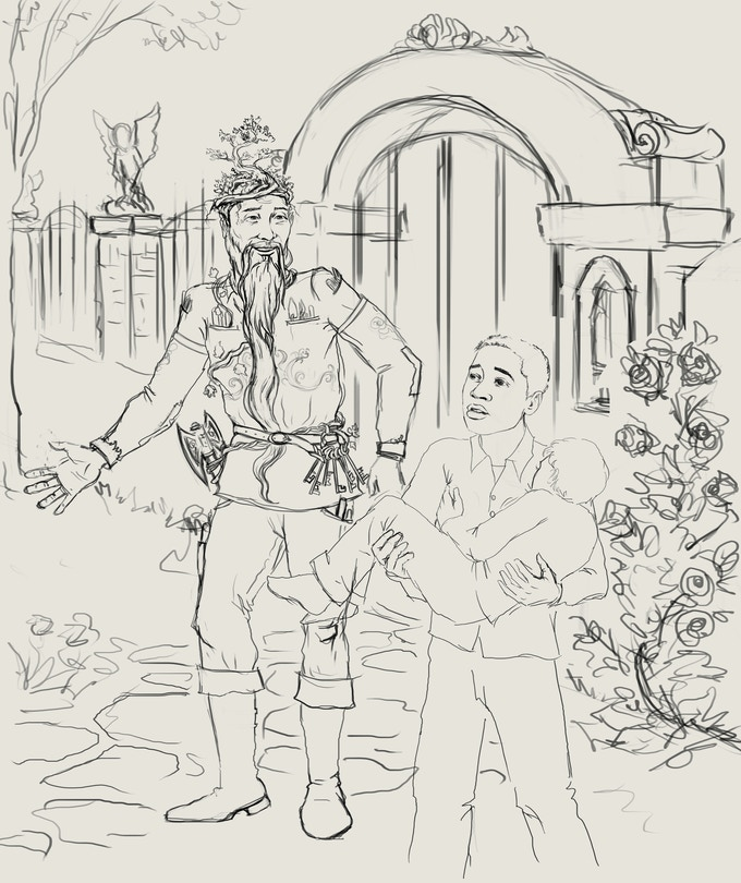 Rough sketch of Chapter 1 as Hero and Little Child enter Great Park, escaping Enchanted City.