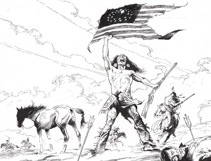 Warrior and Flag. (Splash Page)