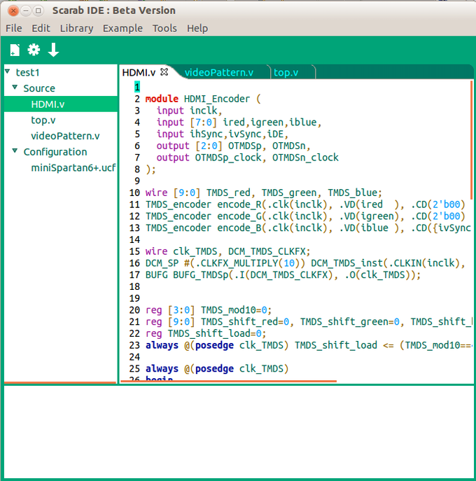 A screenshot of the Scarab IDE.