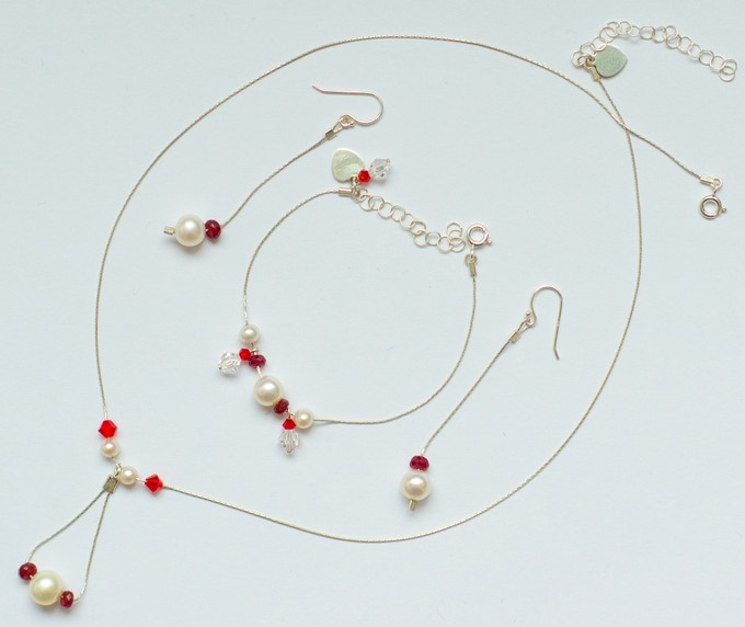 Sample July Birthstone Set (Ruby, Pearls and Crystal)