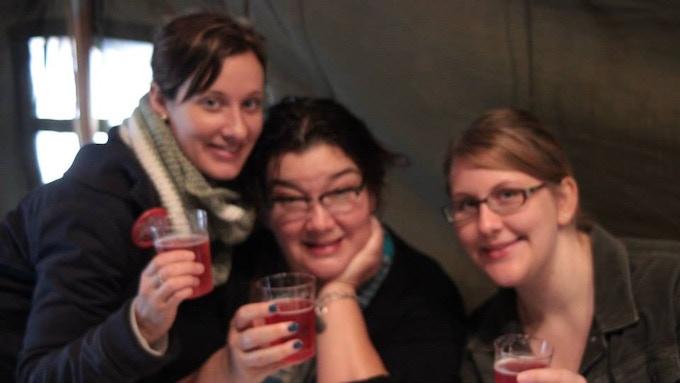 Cristi, Samantha and Emily enjoy cranberry mimosas!