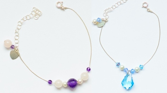 Sample of 7 Bead Bracelets in Purple (Amethyst, Quartz and Pearl) and in Blue (Pearl and Crystal)