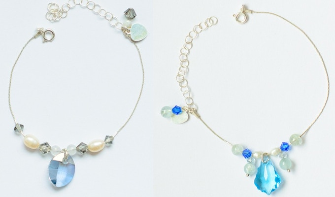 Sample of 9 Bead Bracelet in Gray (Rainbow Moonstone, Pearl and Crystal) and in Blue (Aquamarine, Pearl and Crystal)