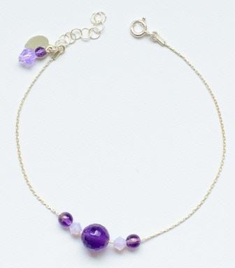 Sample 5 Bead Bracelet in Purple (Amethyst and Crystal)