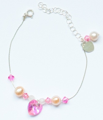 Sample 9 Bead Bracelet in Pink (Quartz, Pearl and Crystal)