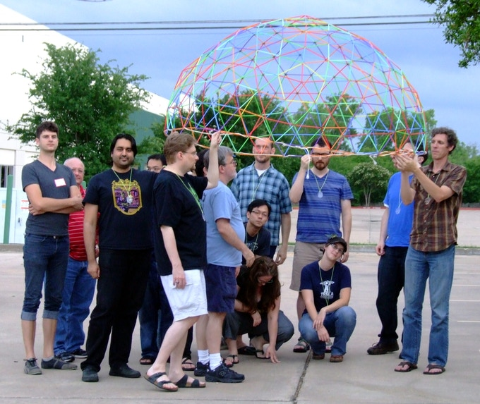 during Protospiel South 2014 testing a prototype of a 6-foot geodesic dome - built entirely with STEMginery parts