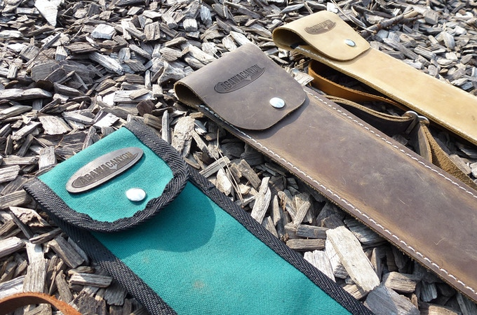 "3 high quality hand-made sheaths to choose from - ""Crazy Horse Dark Brown"" leather, ""Arizona Tan"" leather or ""Emerald"" Canvas"