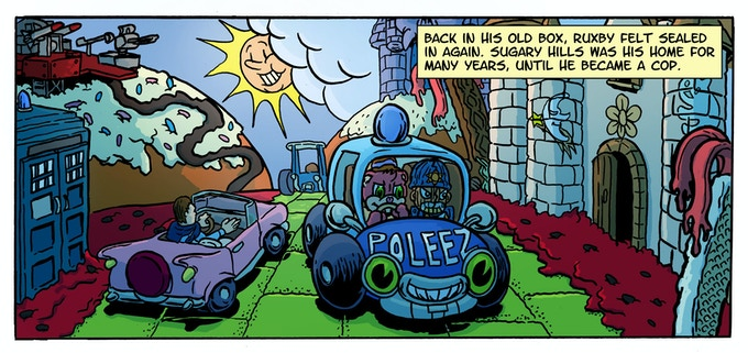 Ruxby drives through Sugary Hills in 'She Sang For Buttons, She Unstitched My Heart'. Art by Brett Uren, colours by Harry Saxon, Letters by Mick Schubert.
