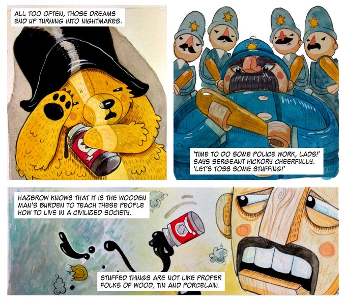 Old time Toyburg cops beat on immgrant bears in Janos Honkonen's 'The Big Wind Up'. Art by Saoirse Towler, letters by Mick Schubert.