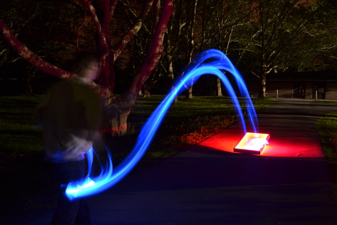 Real picture showing the light trail of our LED Bean Bags