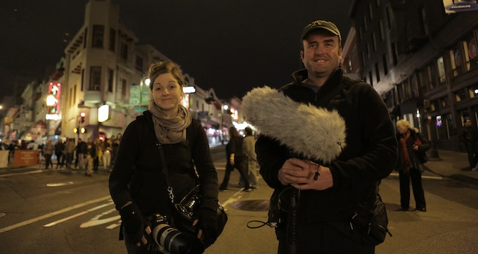 Jillian Suleski (Producer) and Nick Nelson (Sound Recordist/Asst. Editor) at the end of a full day's shoot in San Francisco, CA.