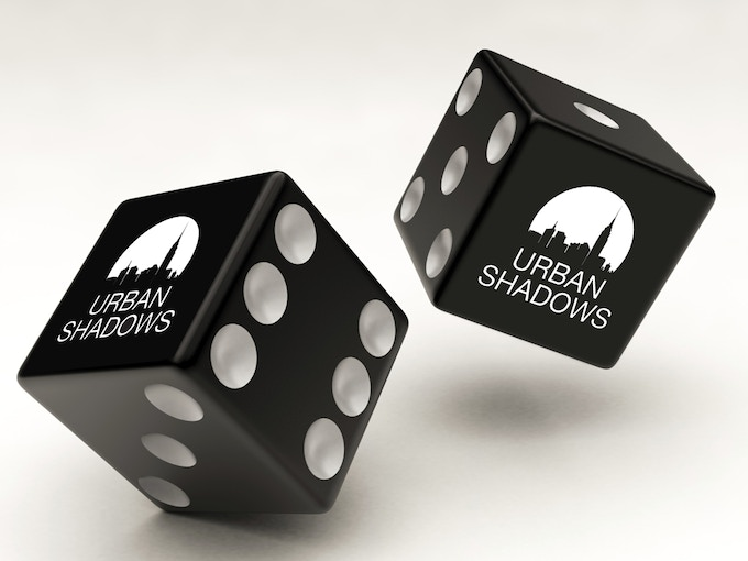 Urban Shadows dice test photo only. The Logo will be on the '1'