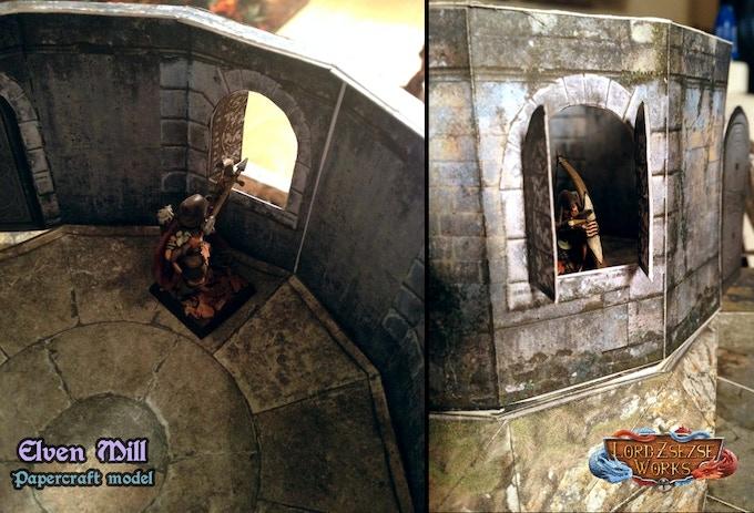 28mm Elven Papercraft Tower & Wall terrain set for RPGs by Brett