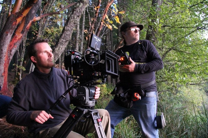 Cinematographer Patrick Neary & 1st Assistant Camera Rocky Garrotto on REDWOOD HIGHWAY