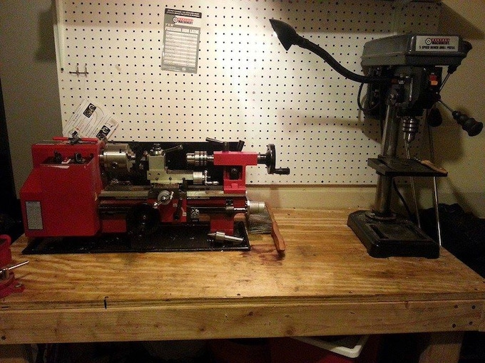 Current lathe setup. This will finish a pen 75%, the last 25% is done at work, which is going away in the future.