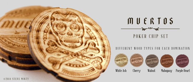 Muertos Engraved Wooden Poker Chips