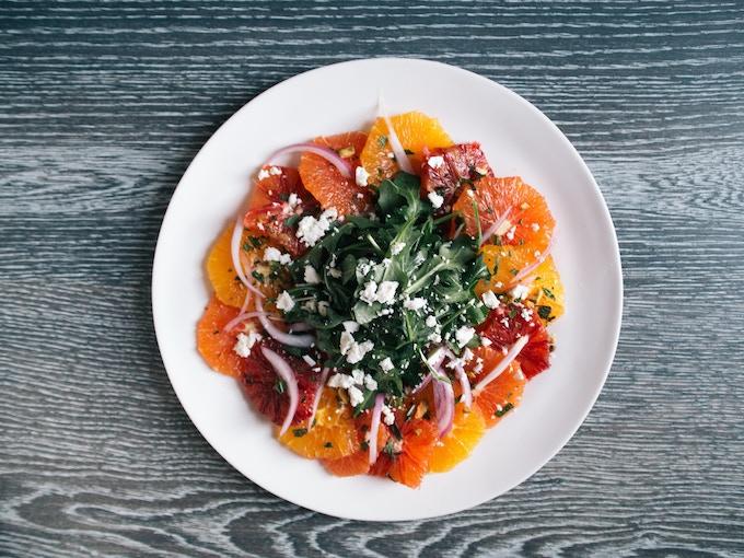 Citrus salad with ricotta salata. (Photo by Signe Birck)