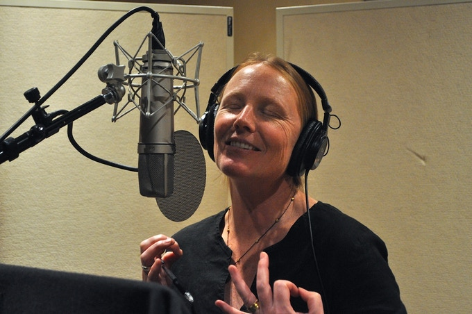 Amy Steel recording her voice-over for Dreams: Tales of Poe.