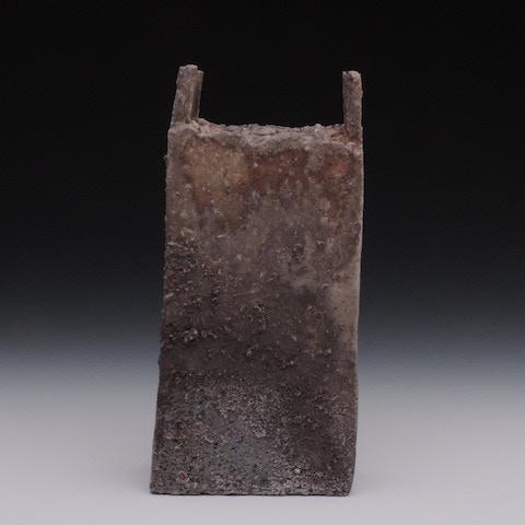 #13. Natural Ash Glazed/ Ember Buried Rectangular Vessel($220)