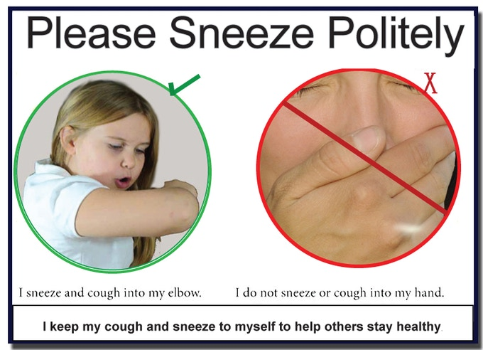 A visual reminder that can be hung on the wall during cough and cold season