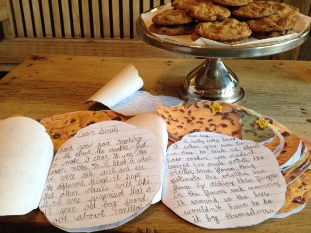 Thank you notes from kids after their cookie school.