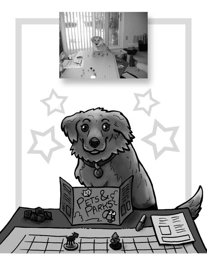 Boudicca, here, is actually a great DM (Dogmaster)!  She runs games all the time, mostly 'cause she likes being bossy.