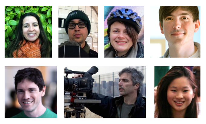 Clockwise from upper-left: Natalia Villegas, Shay Krasinski, Tania van Bergen, Rob Hemsley, Libi Zhang, Ben Tudhope, Chris Willard.
