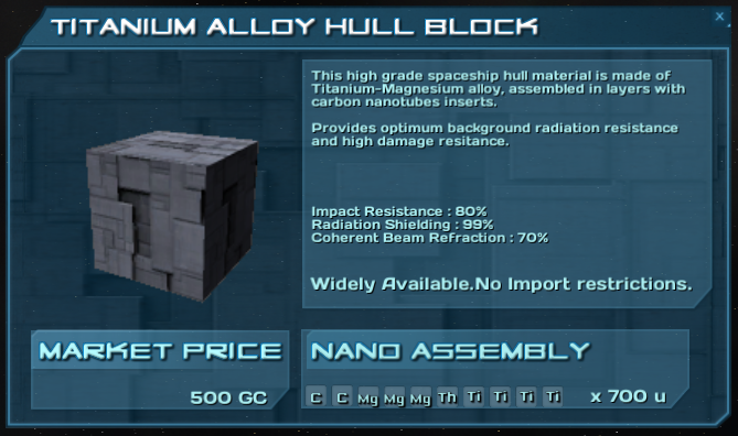 Every block is a tradable resource with a local price and a nano assembly recipe