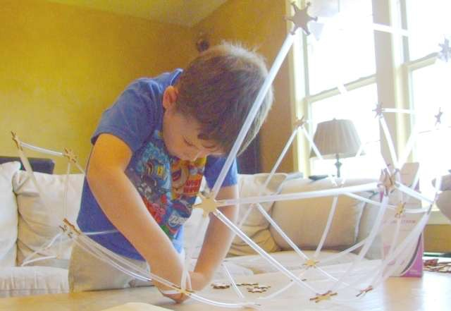 4 year-old building a 2v geodesic ball