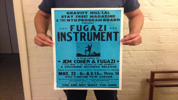 """Fugazi/Jem Cohen """"Instrument"""" poster from NYU screening in 1999. Original 2-color Tribune ShowPrint 17""""x27"""" on cardboard (from the personal collection of Brendan Canty)"""