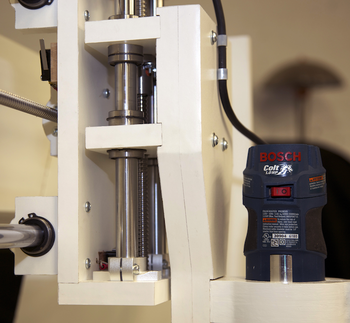 Thick 20mm hardened and chromed rails and precision linear bearings for exceptionally high accuracy. Optional 1HP router can cut though the toughest jobs.