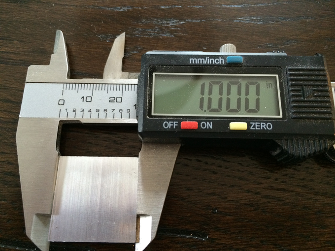 """We cut this 1"""" square from 1/8"""" thick aluminum to test accuracy."""