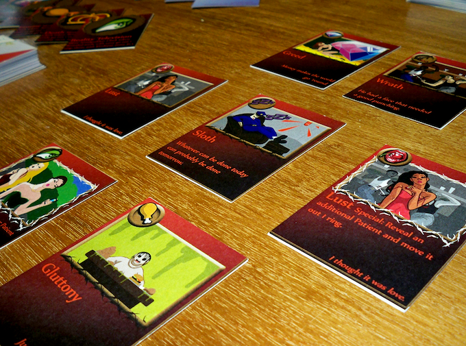 Tempting mortals is accomplished through the strategic playing of powerful sin cards.