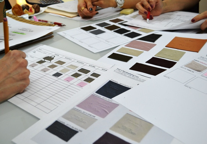 Production Mtng. - Swatch Cards for S/S15 Collection..so exciting!!