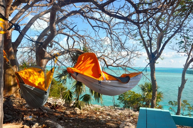 Beta prototypes in the Bahamas. 12 special backers received the first version Alpine Hammock and gave invaluable feedback which was incorporated into the larger production run. (photo: Joshua Elliot)
