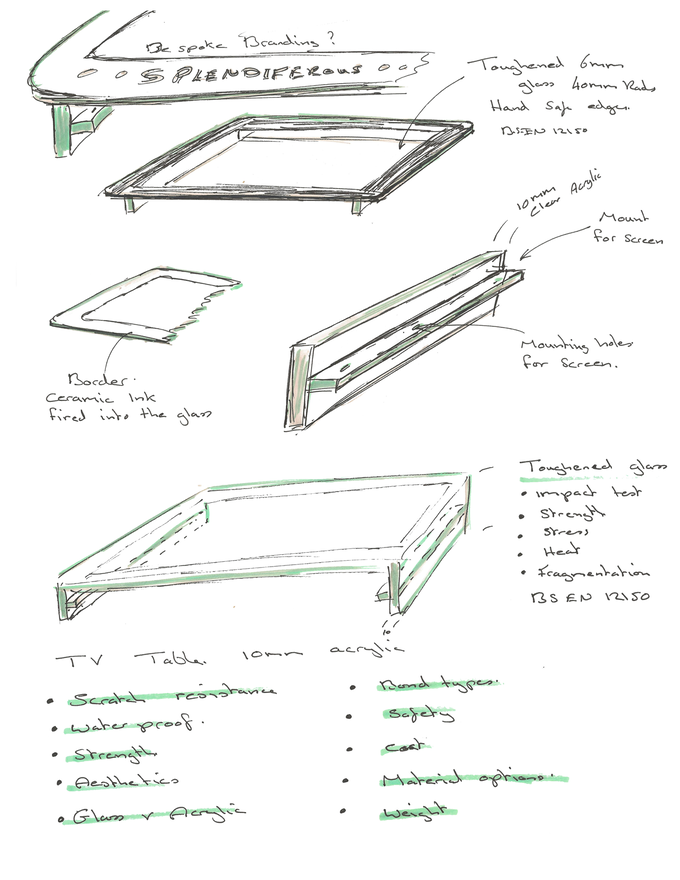 Product sketches from Creative Plastics Ltd