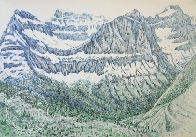 Special drawing from my bike ride on May 31, 2014 on Going to the Sun Road in Glacier National Park