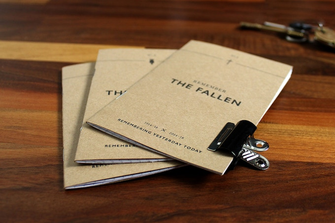 Each Remembrance field notebook has a war poem printed on the inside cover