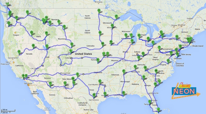 The Chasing Neon tentative route