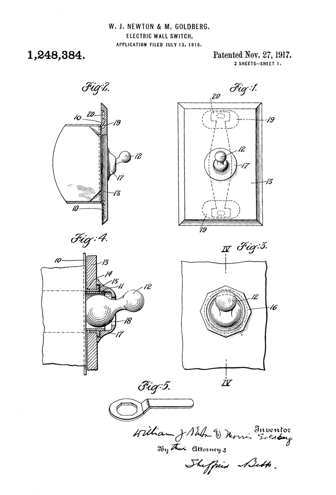 Original 1917 Patent for Toggle Wall Switch invented by William J. Newton and Morris Goldberg