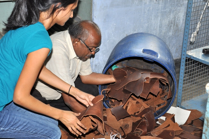Leather trims generated from factory waste in India