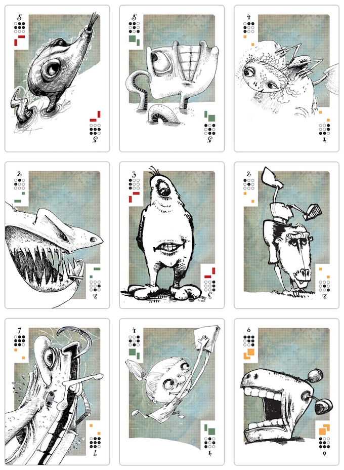 These are just some of the crazy creatures that will populate the MesaMaze poster and be part of the Mesa card deck.