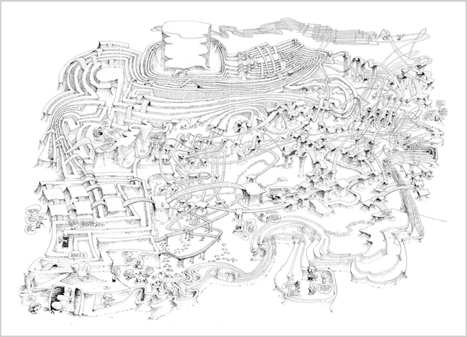 The original drawing for the maze created with pen and ink. The finished B&W MesaMaze will look approximately like this but it will have many more figures and details.