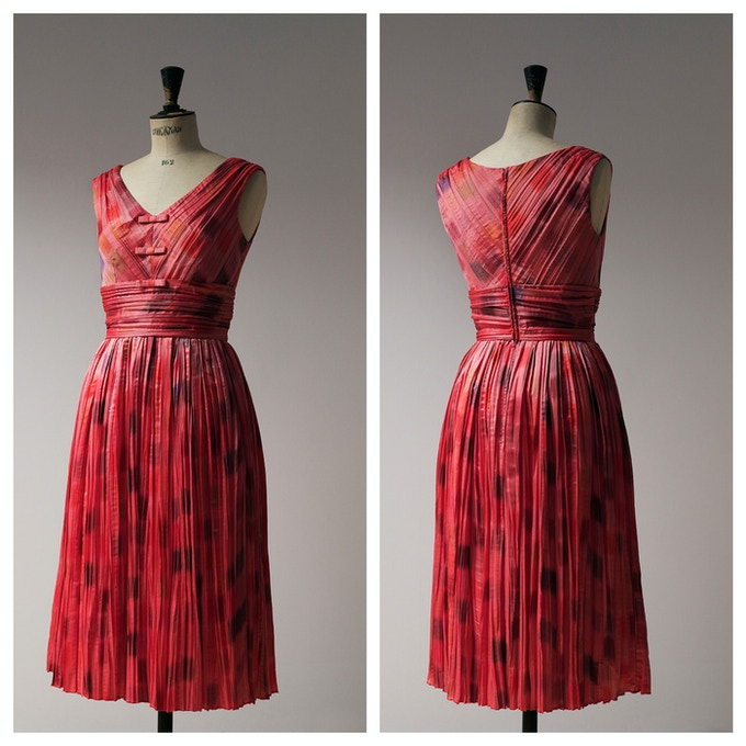 Red Pleated Cocktail Dress