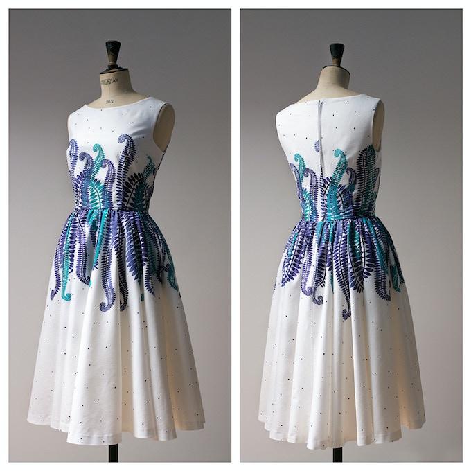 White Cotton Fern Print Dress