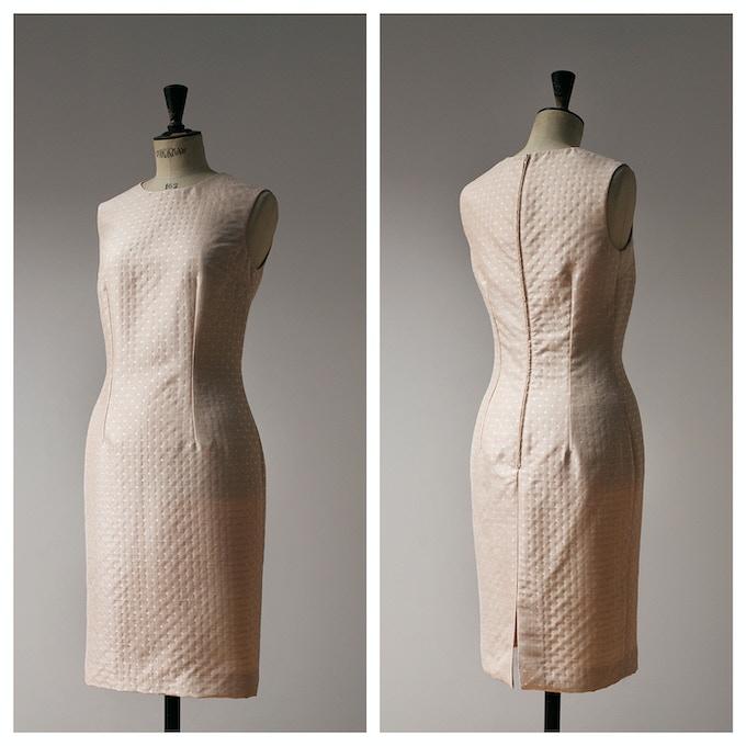 Beige Polka Dot Sheath Dress