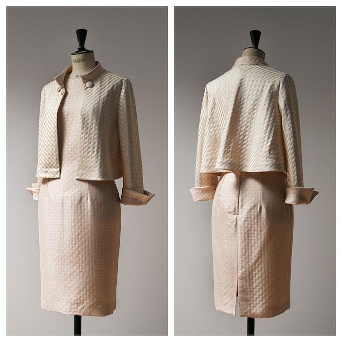 Beige Polka Dot Sheath Dress with Matching Swing Jacket